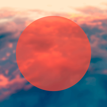 circle on a red sky, blured background Stock Photo