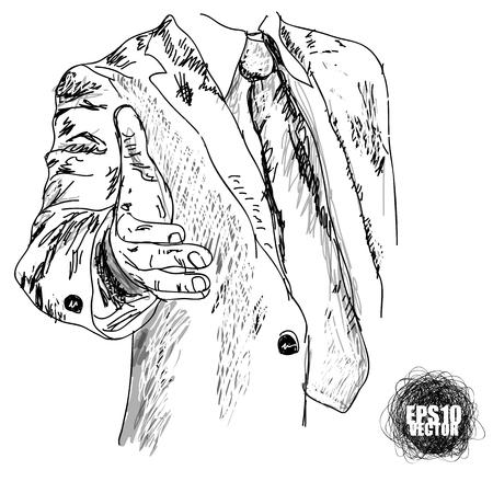 Man lends a helping hand. Business. Figure Illustration