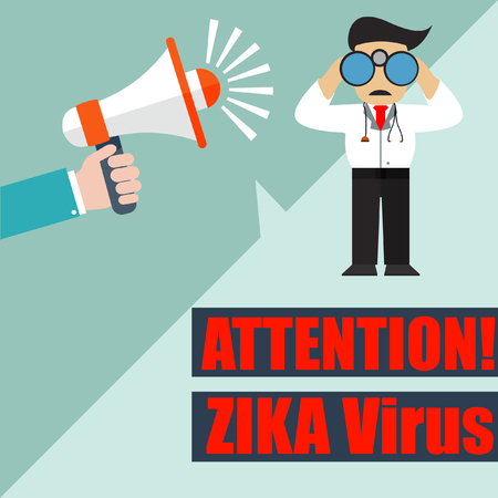 zika virus attention slogan with megaphone
