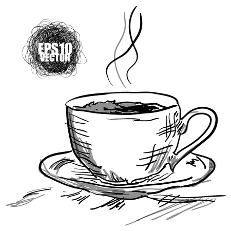 Time for a coffee break. Hot coffee or tea Ilustrace