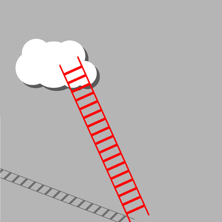 big red ladder from cloud with small white ones