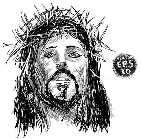 Sketch of jesus christ. pen hands drawing on tablet. Vector EPS 10. Holy God. drawing on white background. Vector Illustration