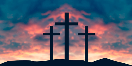 Crucifixion Of Jesus Christ - Cross At Sunset vector illustration