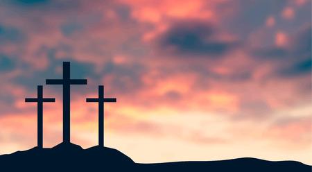 Kruisiging van Jezus Christus - kruis bij zonsondergang vectorillustratie