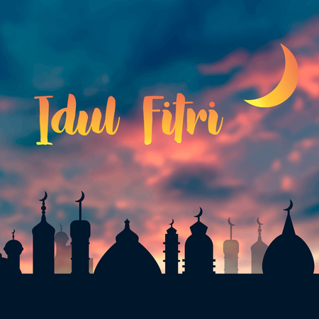 Idul Fitri background with mosque illustration concept