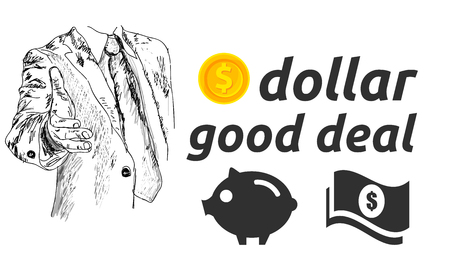 Dollar good deal handshake concept with piggy icon and dollar cash vector illustration Illustration