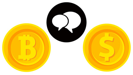 Bitcoin and dollar with convarsation icon