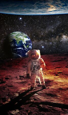 Astronaut on the Mars with an Earth and big planet in background - Elements of this Image furnished by NASA