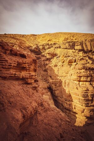 Travel in Israel, in the Eilat Mountains: Red Canyon, giant cliffs