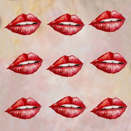 Seamless pattern with red watercolor lips illustration Zdjęcie Seryjne