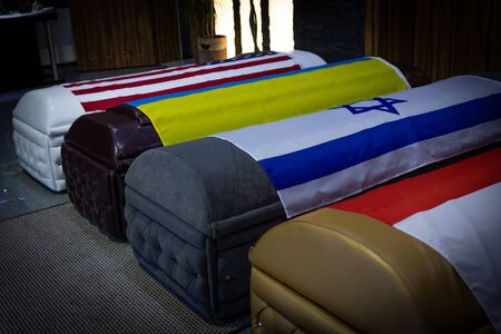 Coffin Ukraine, USA, Polish, Flag Funeral home with new modern like a Sofa chester coffin style