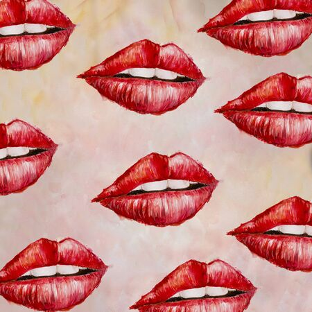 Seamless pattern with red watercolor lips illustration for post card