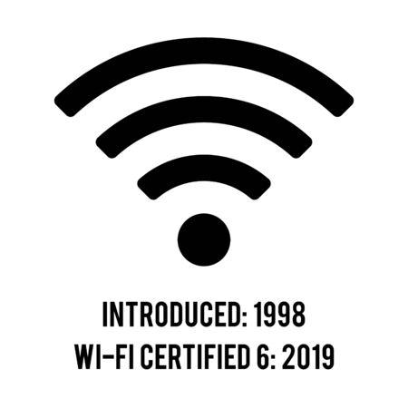 WI-FI 6 icon signal indicator high, full WI-FI icon signal rounded shape. Certified 6. Introduced 1998 Vektoros illusztráció