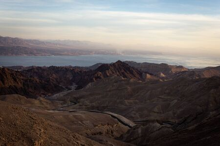 View On Dead Sea Though Mountain Valley