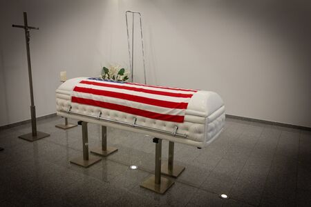 USA Funeral home with new modern like a Sofa chester coffin style. American Flag