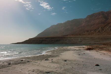 Dead sea Israel. Salt water beautiful mountain background