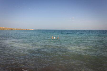 Dead sea Israel. Salt water beautiful mountain background in Eliat  Imagens