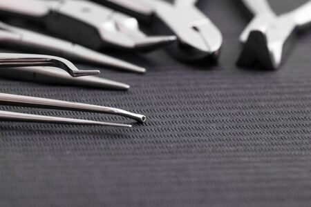 Equipment and dental instruments in dentists office. Tools close-up. Dentistry
