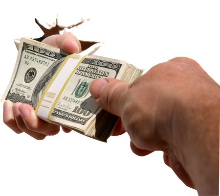 end user: A human hand isolated against a white background holds a pile of cash as YOU the end user graceously takes it!