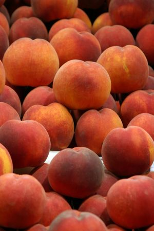 city fish market sign: fresh peaches for sale at a public market Stock Photo