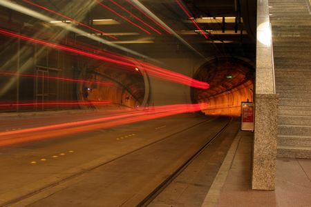 trolly: Time Laps in seattle subway tunnel Stock Photo