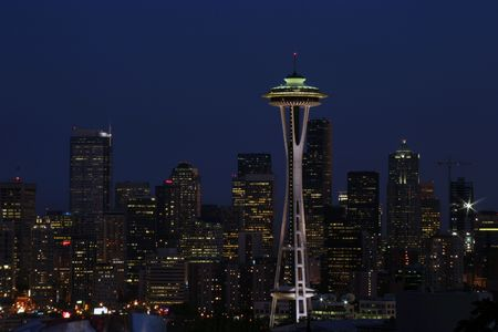 downtown seattle at night photo