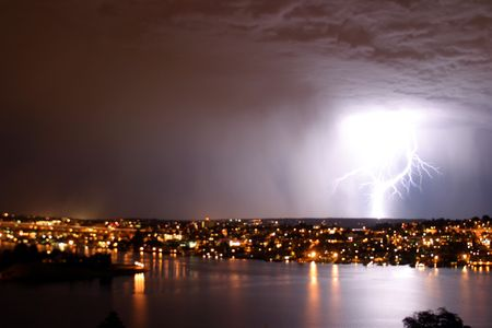 natue: lighting strikes in seattle Stock Photo