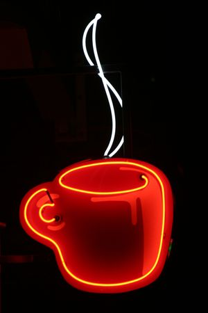 adverts: neon coffee cup Stock Photo