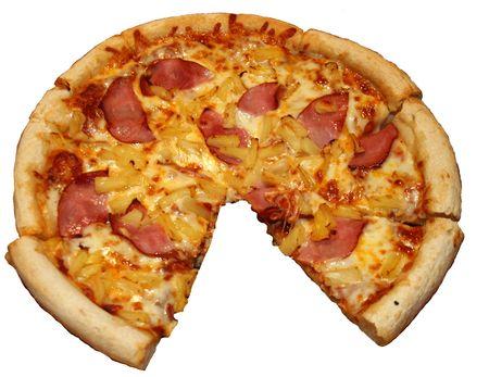 isolated hawaiian pizza with slice taken photo