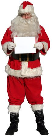 pere noel: Isolated Santa Claus holding a blank sign (blank for Your Text!) Stock Photo