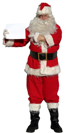 Isolated Santa Claus holding a blank sign (blank for Your Text!) Stock Photo