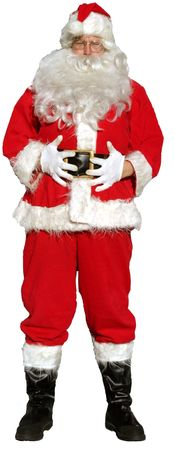 Santa Claus stands with his hands on his tummy