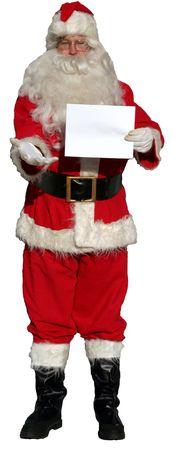 12 month old: Tenuta isolata del Babbo Natale un segno in bianco (spazio in bianco per il vostro testo!)