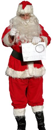 mas: Isolated Santa Claus holding a Calendar with Dec.25 Circled as a reminder not to forget how many shopping days are left before x mas!