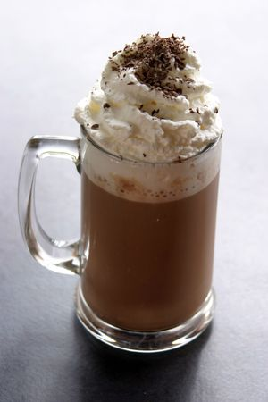 mocca: mocca cappachino with whipped cream and chocolate powder
