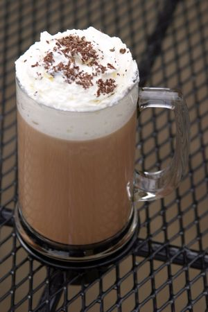 caffee: mocha cappachino outdoors on a table Stock Photo