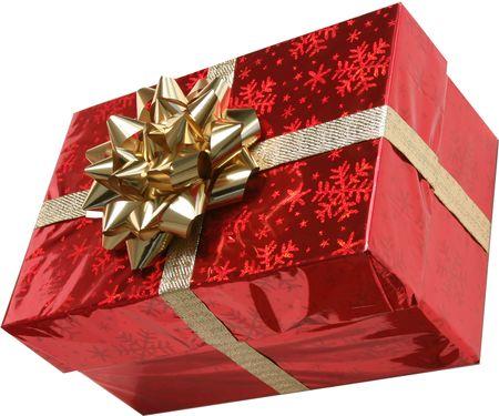 caja navidad: aisladas de color rojo con caja de navidad de oro y cinta de oro de proa