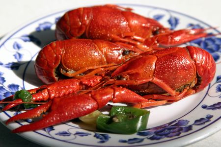 resturant: boiled crawfish on a plate in a chinese restaurant