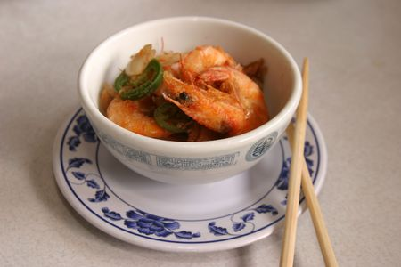 resturant: crispy whole shrimp in a bowl in a chinese resturant