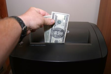 a human shredding money Stock Photo - 284949