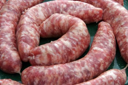 casings: close up of link sausages Stock Photo