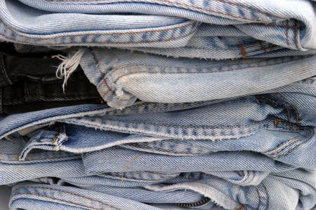 slacks: old blue jeans piled up