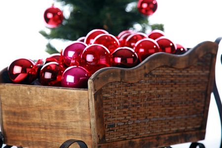 a santa sled filled with red christmas tree balls Stock Photo - 7614049