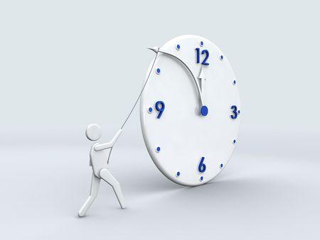 Stop time 3D clock concept photo