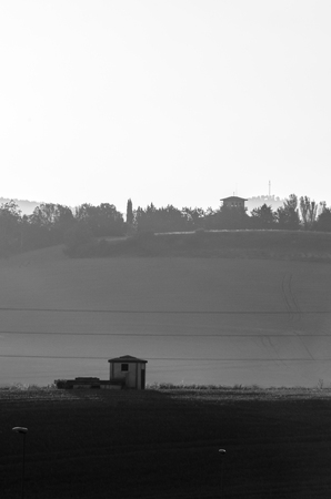 Three parts of a scene from Badostain, Navarra, seem to be an horizontal flag and a grey scale at the same time Imagens