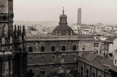 Old years style view of the central place from the Giralda tower in Sevilla, Spain Archivio Fotografico