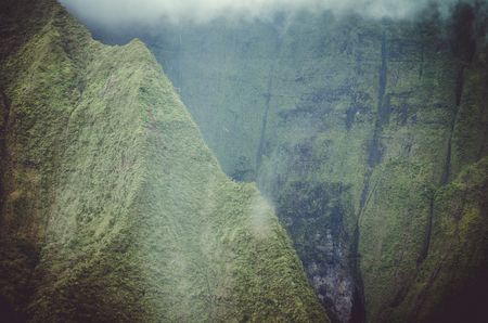 Aerial view and approximation to Waialeale volcano in Kauai, US