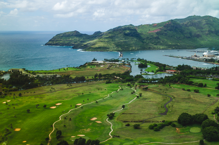 Aerial view of a golf field in the coast of Kauai, US