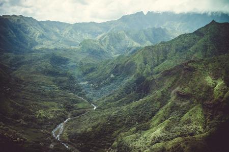 Aerial view of typical peaks near Napali Coast in Kauai, US
