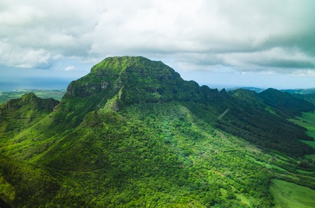 Helicopter trip to Waialeale peak in Kauai, US Stockfoto